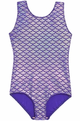 Danskin 3810 Girl's Purple Silver Print Gymnastics Leotard