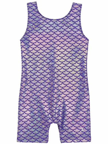 Danskin 3810 Girl's Purple Silver Mermaid Gymnastics Biketard