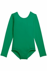 Danskin 3907 Girl's Kelly Green Nylon Long Sleeve Leotard