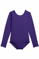 Danskin 3907 Girl's Purple Nylon Long Sleeve Leotard
