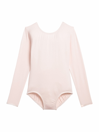 Danskin 3907 Girl's Theatrical Pink Nylon Long Sleeve Leotard