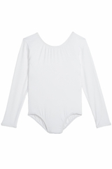 Danskin 3907 Girl's White Nylon Long Sleeve Leotard