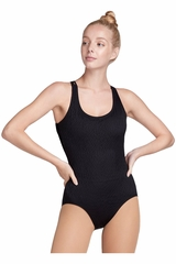 Danskin 7274 Black Textured Mesh Scoopback Leotard