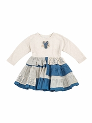Denim Mimi & Maggie 80403 English Farmhouse Collection Denim Stripe Mixed Patch Dress
