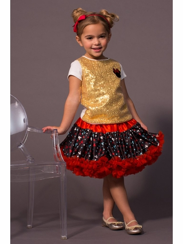 Disney Collection by Tutu Couture Minnie Mouse 2PC Set Sequins Tee w/ Reversable Petti Skirt