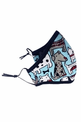 Dog Print Aqua Cotton Fleece 2-Ply Face Shaped mask