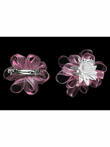 Dusty Rose 2'' Organza Hair Clip Set