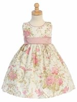 Dusty Rose Cotton Floral Dress w/ Sash