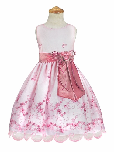 Dusty Rose Embroidered Organza Dress w/ Taffeta Sash