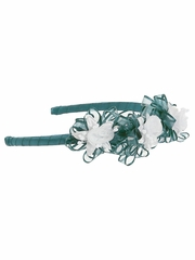 Emerald Green Headband w/ Rosebuds