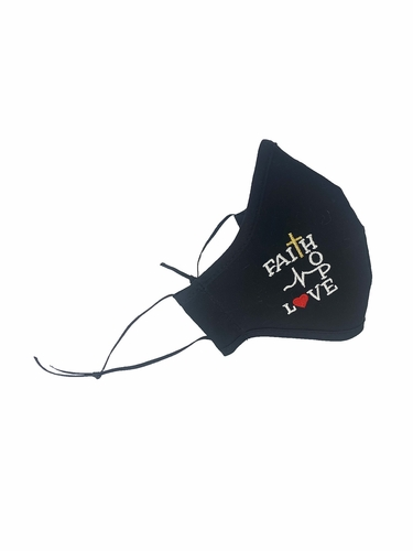 Faith, Hope, Love Embroidered 100% Cotton Face Shaped Mask