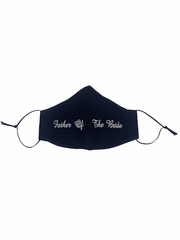 Father of the Bride White Embroidered Face Shaped Mask