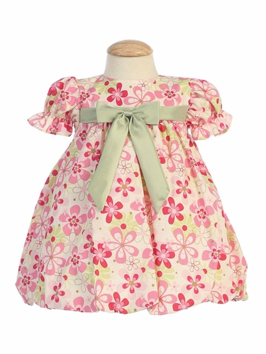 Fuchsia Cotton Floral Baby Dress with Taffeta Waistband