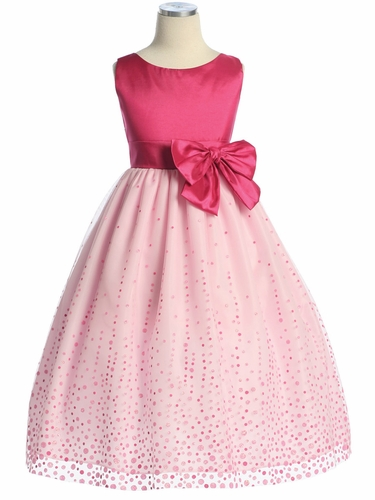 Fuchsia/Pink Glitter Flocked Mesh/Taffeta Dress