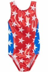Girl Power Sport Team USA Red Star Sparkle Perfect Fit Leotard