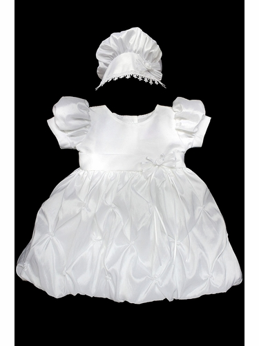 Girls Christening Taffeta Dress w/ Sleeves & Bubble Skirt
