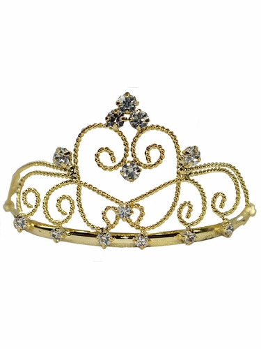 Girls Small Gold Rhinestone Crown