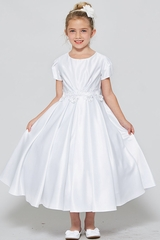 Good Girl 3547 White Short Sleeve Satin Communion Dress w/ Floral Lace