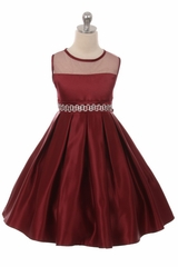 Good Girl 3574 Burgundy Satin Dress w/ Round Mesh Neck & Beaded Belt