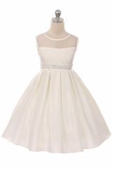 Good Girl 3574 Ivory Satin Dress w/ Round Mesh Neck & Beaded Belt