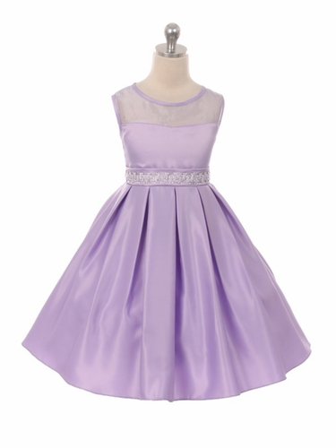 Good Girl 3574 Lavender Satin Dress w/ Round Mesh Neck & Beaded Belt