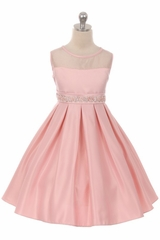 Good Girl 3574 Pink Satin Dress w/ Round Mesh Neck & Beaded Belt