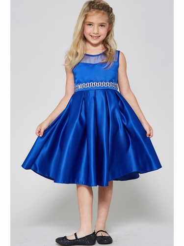 Good Girl 3574 Royal Blue Satin Dress w/ Round Mesh Neck & Beaded Belt