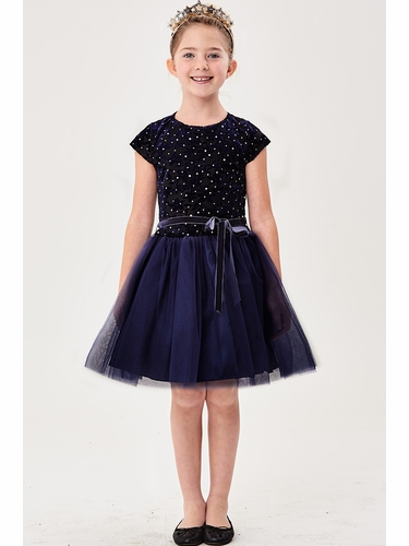 Good Girl 3585 Navy Velvet & Tulle Dress
