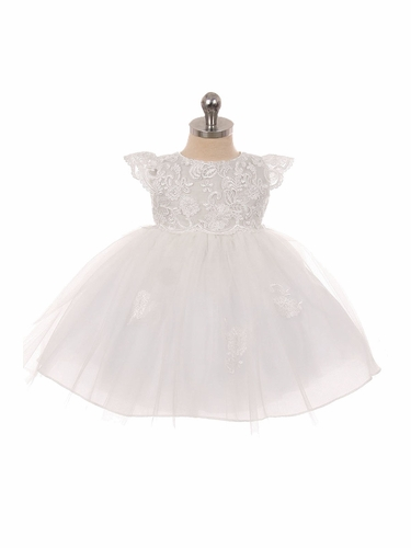Good Girl 3587 White Floral Lace Mesh Christening Dress