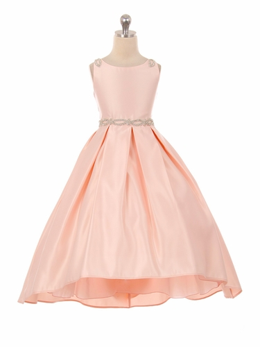 Good Girl 3590 Blush Pink Satin High Low Dress w/ Beaded Shoulder & Belt