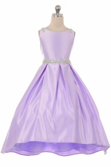 Good Girl 3590 Lilac Satin High Low Dress w/ Beaded Shoulder & Belt