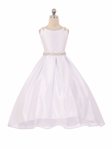 Good Girl 3590 White Satin High Low Dress w/ Beaded Shoulder & Belt