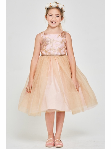 Good Girl 3599 Pink & Gold Embroidered Floral Mesh Lace Dress w/ Tulle Overlay