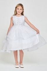 Good Girl 3601 White Lace & Sequins Bodice Communion Dress w/ Ruffled Tulle Skirt & Bolero