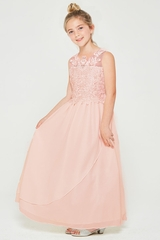 Good Girl 3602 Blush Pink Chiffon Maxi Dress w/ Illusion Floral Lace