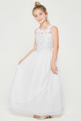 Good Girl 3602 White Chiffon Maxi Dress w/ Illusion Floral Lace