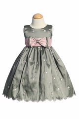 Grey Flower Girl Dresses - Embroidered Polka-Dot Dress