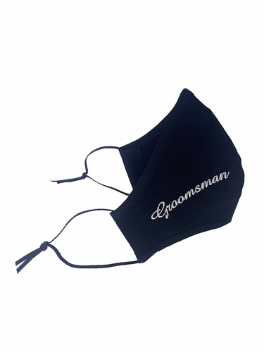 Groomsman White Embroidered Face Shaped Mask