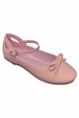 Gwen & Zoe GZ5503 Blush Flat w/ Bow & Ankle Strap Shoe