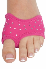 Hot Pink Neoprene Solid Color Half Sole w/ Rhinestones