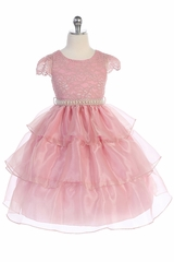 IAudrey Bean 4389 Dusty Rose Lace Bodice w/ Cap Sleeve and 3 Layer Skirt