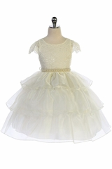 IAudrey Bean 4389 Ivory Lace Bodice w/ Cap Sleeve and 3 Layer Skirt