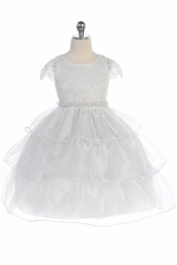 IAudrey Bean 4389 White Lace Bodice w/ Cap Sleeve and 3 Layer Skirt