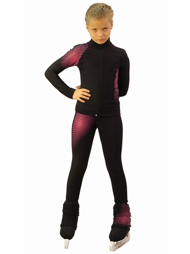 IceDress Black & Raspberry Thermal Disco Figure Skating Outfit