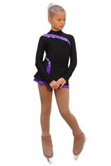 IceDress Figure Skating Black w/ Purple Thermal Lasso Dress