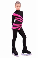 IceDress Figure Skating Thermal Black & Fuchsia Oriental 3 Dress