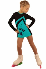 IceDress Figure Skating Thermal Black & Turquoise Butterfly Dress