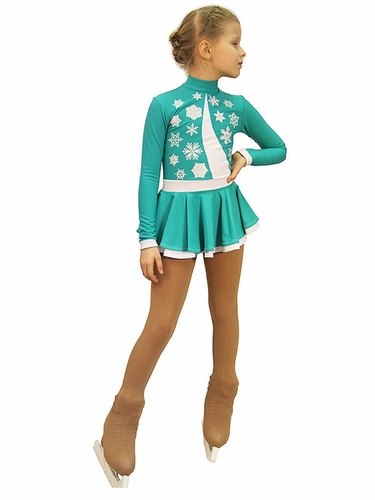 IceDress Figure Skating Thermal Mint & White Snowflake Dress