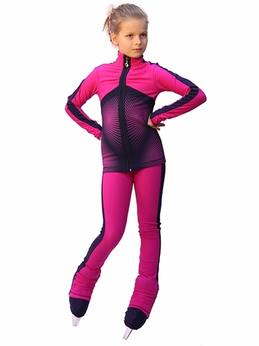 IceDress Fuchsia w/ Gray Blue Thermal Jump Figure Skating Outfit