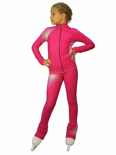 IceDress Fuchsia & White Thermal Disco Figure Skating Outfit